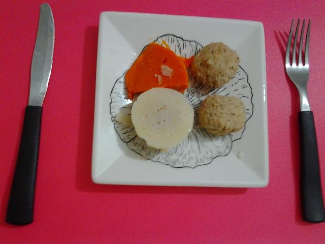 Jantar - Almondegas de frango, abobora e inhame