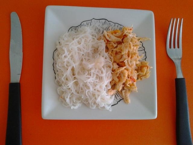 Almoço - Macarrão de arroz e frango desfiado